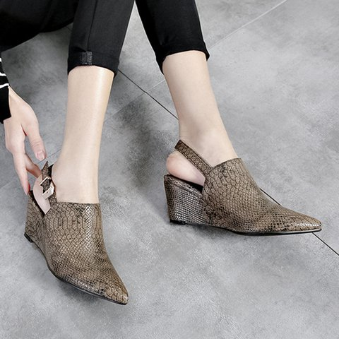 401285e75e18 Justfashionnow Creepers   Wedges Wedge Heel Casual Brown Printed Pointed Toe  Creepers   Wedges