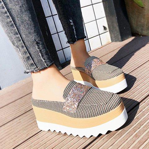 Printed Mules Platform Sandals Women