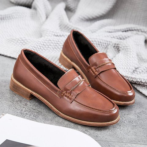Womens Vintage Loafers Low Heel Slip On Shoes