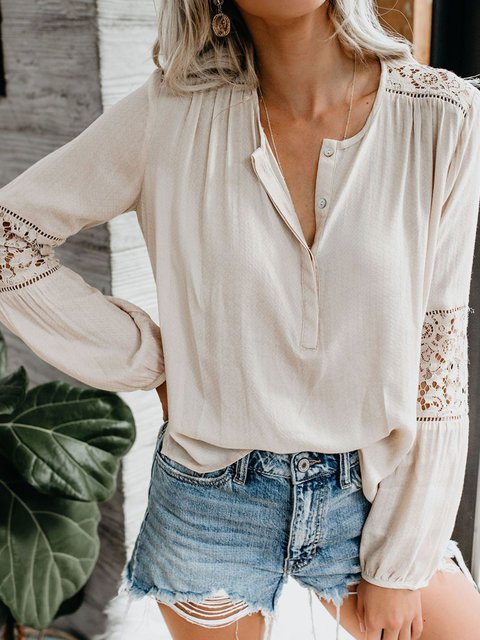 Cotton Guipure Lace Long Sleeve V Neck Shirts & Tops