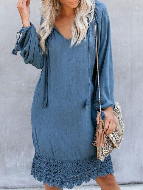 V Neck Women Dresses Guipure Lace Dresses