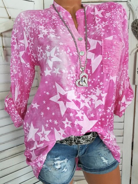 Plus Size Star Print Long Sleeves Casual Shirts
