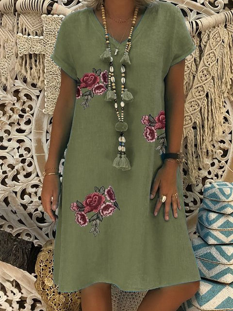 Appliqued Floral Shift Daily Cotton-Blend Dresses