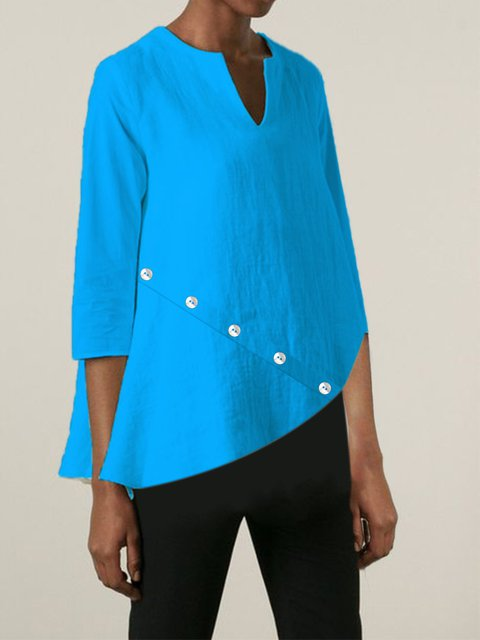 3/4 Sleeve V Neck Casual Solid Shirts & Tops