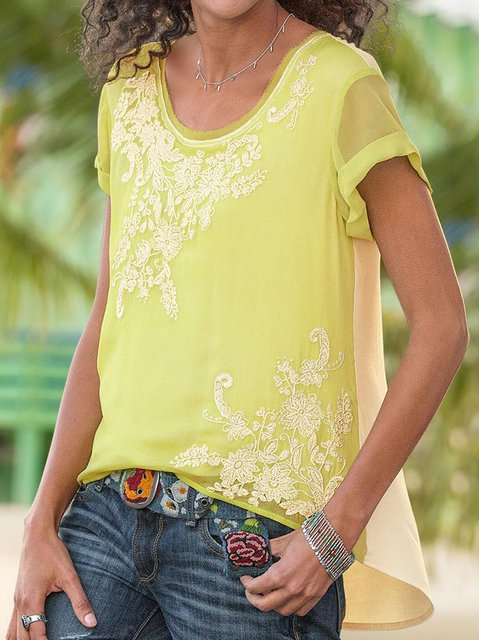 Boho Short Sleeve Round Neck Shirts Blouses