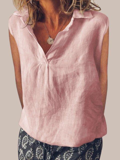 Sweet Cotton V Neck Sleeveless Shirts & Tops