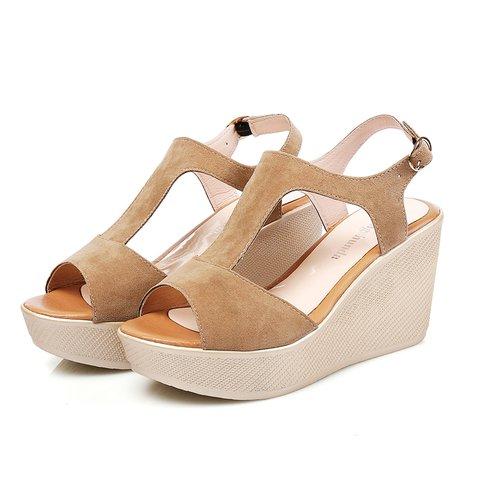 Women Daily Wedge Heel Suede Buckle Sandals