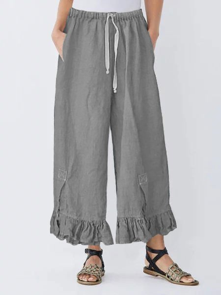 Linen Draw String Ruffle Pants Comfy Elastic Waistband Bloomers Pants