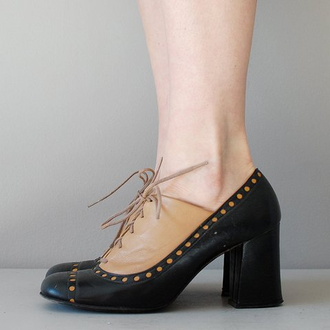 0a30f611ca101 Womens New Oxfords Vintage Chunky Heel Lace Up Shoes