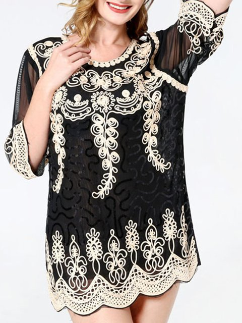 3/4 Sleeve Casual Guipure Lace Shirts & Tops