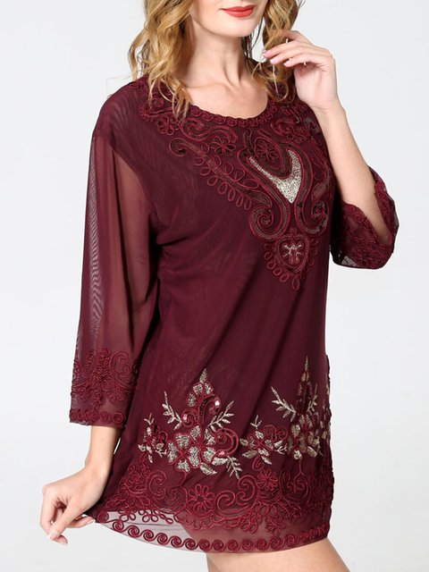 Red Casual Cotton 3/4 Sleeve Shirts & Tops