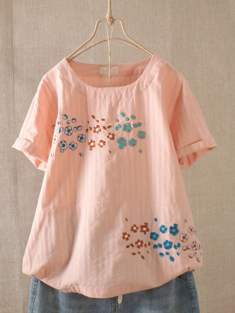Women Casual Embroidered Floral Short Sleeve T-Shirts