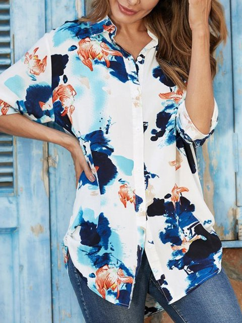 White Floral Long Sleeve Buttoned Shirts & Tops