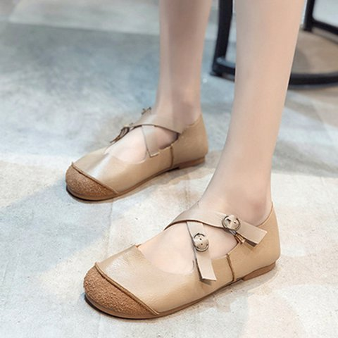 Round Toe Crossover Front Casual Pu Flats Women
