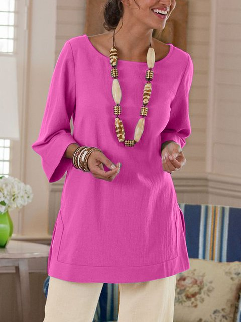 Plus Size Womem 3/4Sleeve V-neck CasualTops