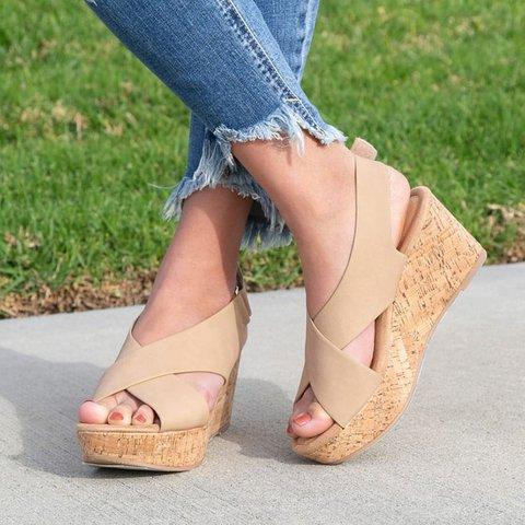 Comfortable Criss-Cross Peep Toe Wedges Magic Tape Sandals