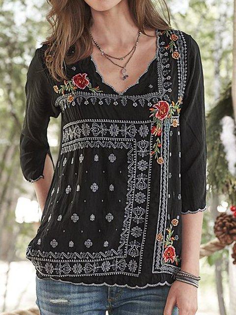 Floral Boho Half Sleeve Shirts Blouses