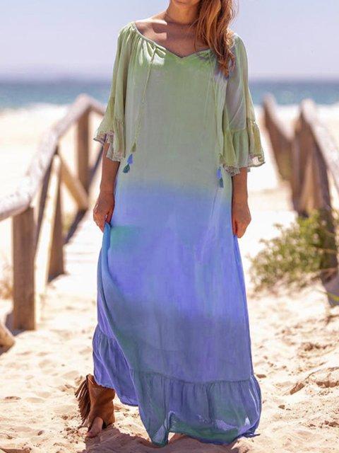 Cotton Casual V Neck Dresses