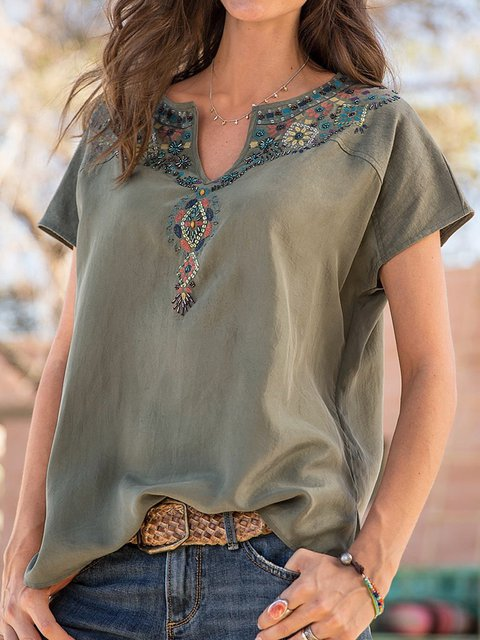Cotton Floral Short Sleeve V Neck Shirts Blouses