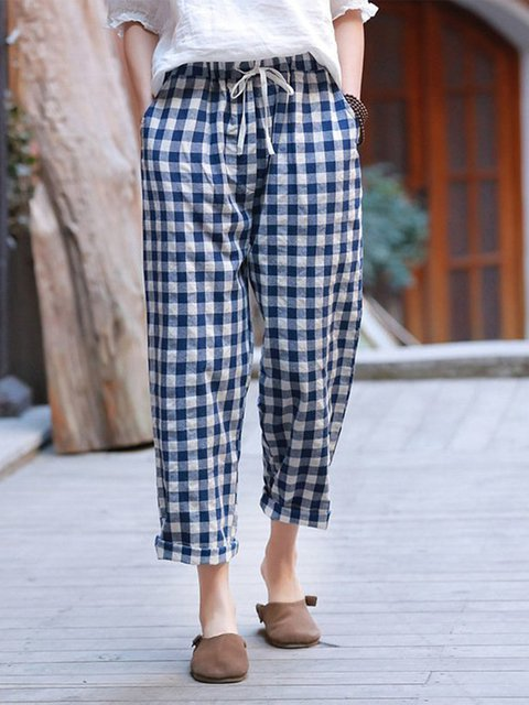 Casual Lattice Plus Size Solid Pants With Pockets