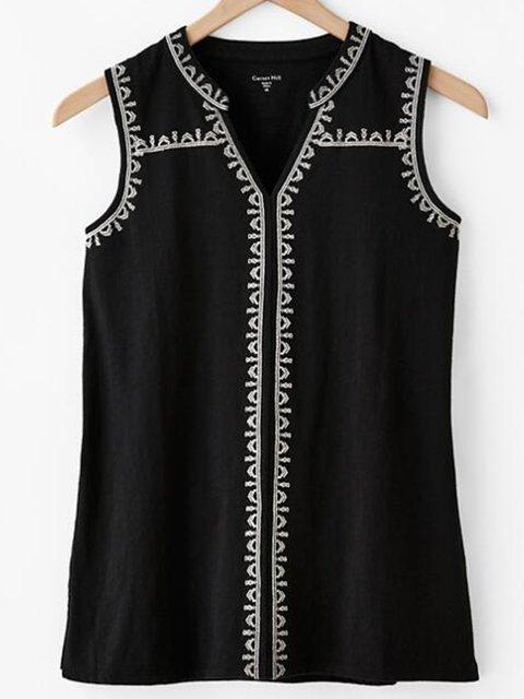 Sleeveless Printed Cotton-Blend Elegant Shirts & Tops