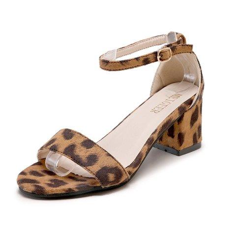 Women Trending Leopard Low Heel Sandals Shoes