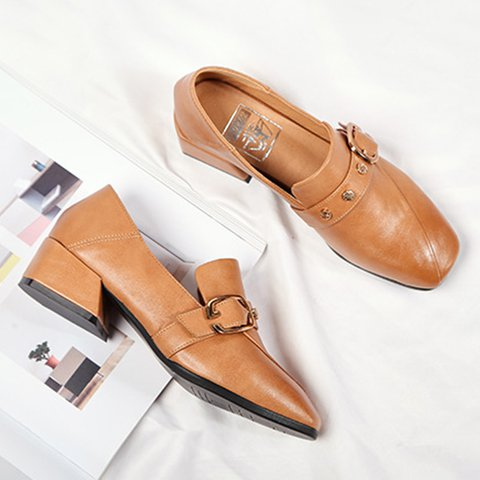 Stylish Chunky Heel Square Toe Loafers Shoes