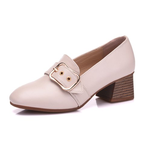 Stylish Chunky Heel Square Toe Buckle Pumps Shoes