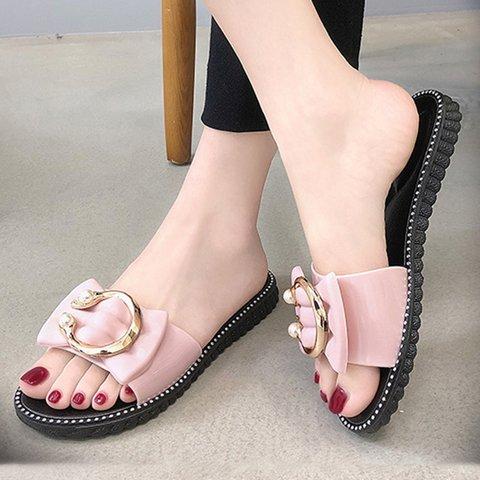 Women Chic Bead Ring Flat Slide Sandals