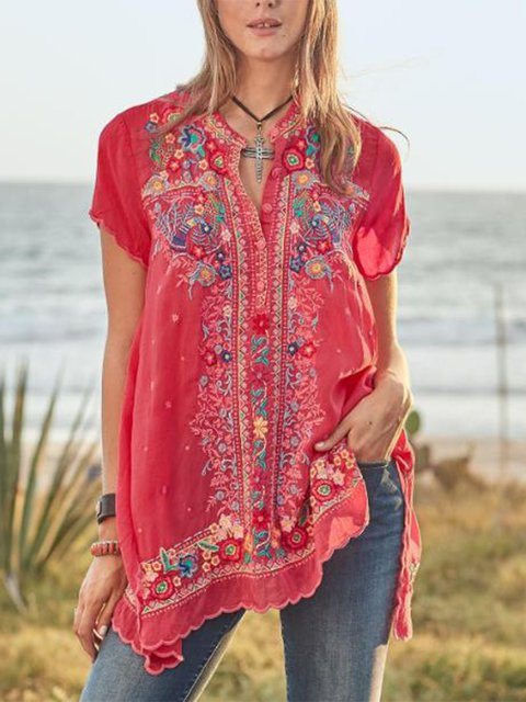 Women Embroidered Short Sleeve Casual Boho Shirts