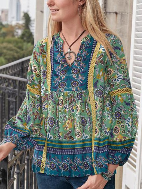 Printed V Neck Casual Long Sleeve Blouse