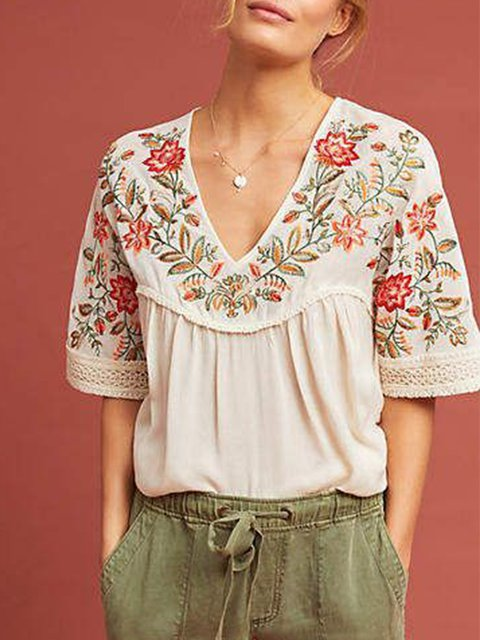 embroid Women Short Sleeve Casual shirt Top