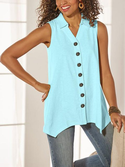Casual Sleeveless Plus Size Tops