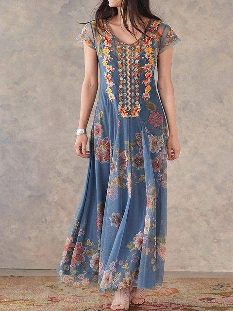 V Neck Women Summer Dresses Daytime Embroidered Dresses