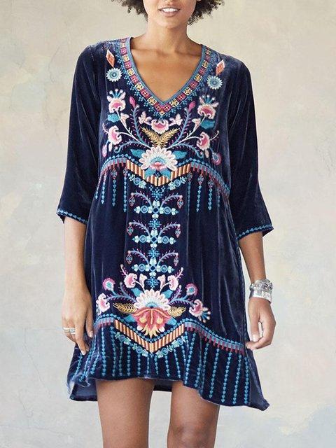 Blue Sweet Cotton-Blend Half Sleeve V Neck Dresses