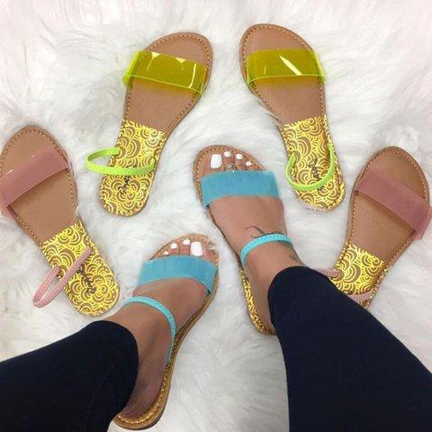 Women Casual Comfy Flat Slip-On Elastic Band Sandals