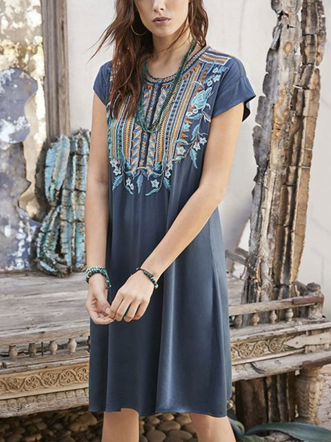 Grey-Blue Cotton-Blend Casual Dress