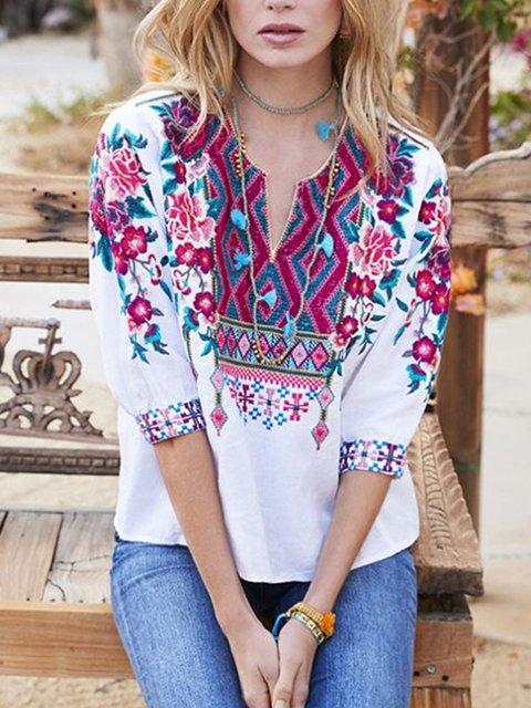women plus size 3/4 slessve v neck tops blouse