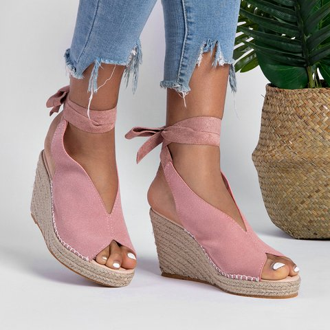 Espadrille Ankle Tie Sandals Peep Toe Wedge Sandals