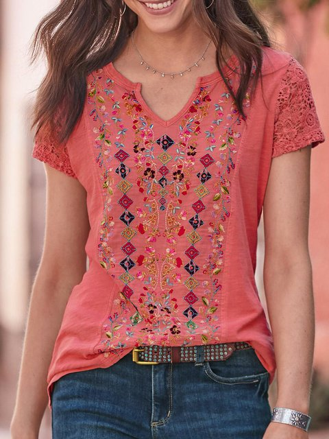 Women Embroidered Casual Short Sleeve Plain Blouses