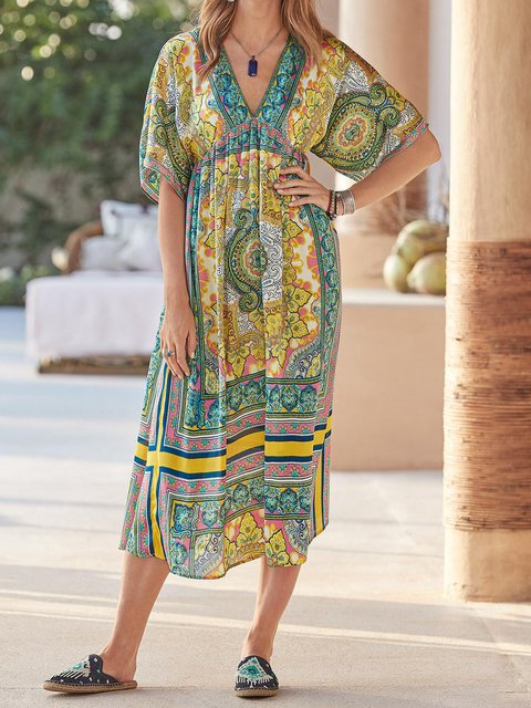 Boho Half Sleeve Casual V Neck Cotton-Blend Dresses