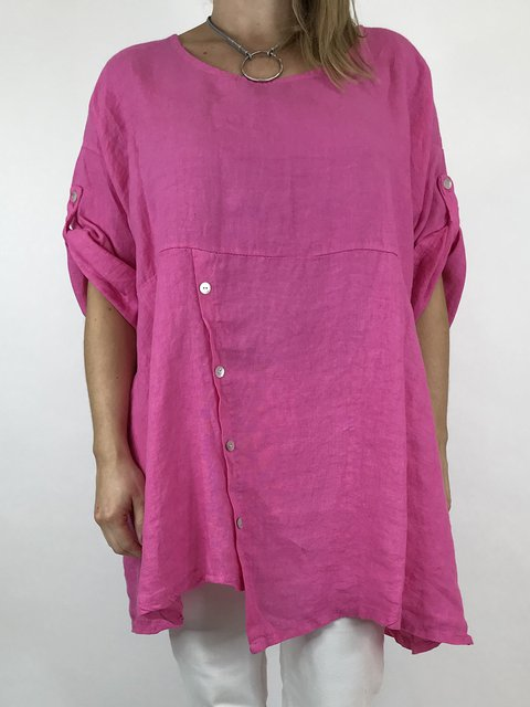 Cotton Short Sleeve Casual Paneled Tops