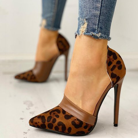 Sexy Leopard Slide Sandals Slip On Pumps Date Shoes