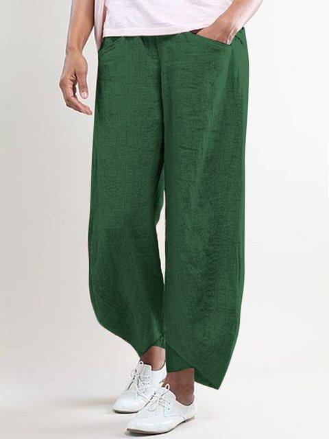 Linen Solid Split Hem Woemn Pants