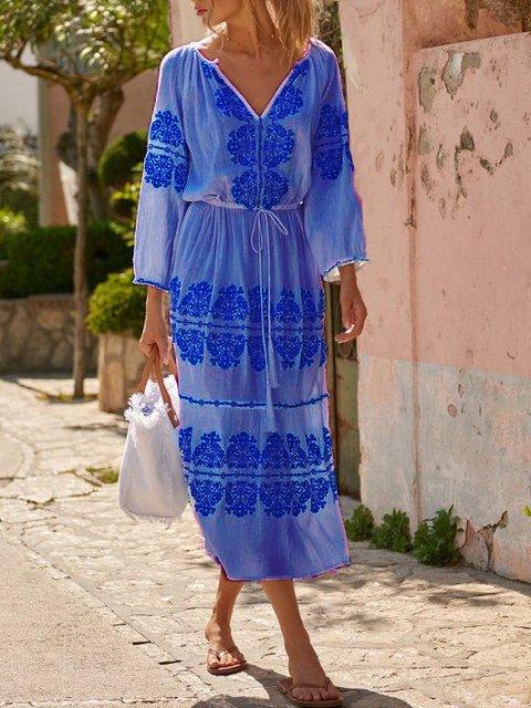 3/4 Sleeve V Neck Linen Dresses