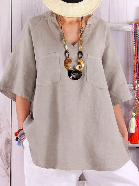 Plus Size Linen Loose Women Summer Blouses With Pockets