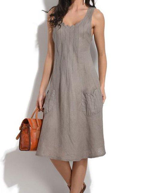 Women Dress Pockets Sleeveless Solid Midi Dresses