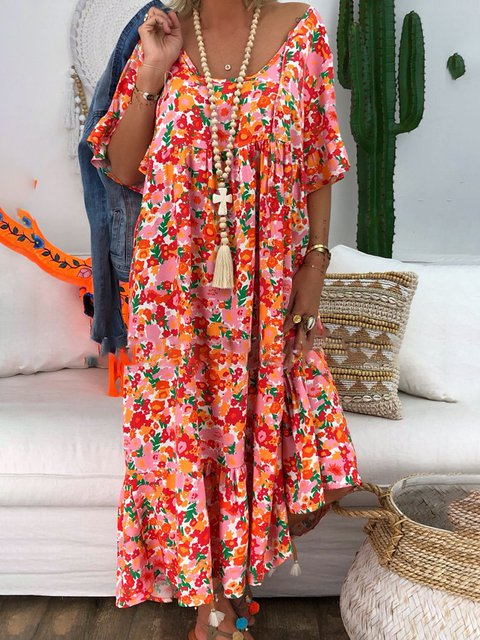 V Neck Women Plus Size Dresses Daytime Floral Maxi Dresses