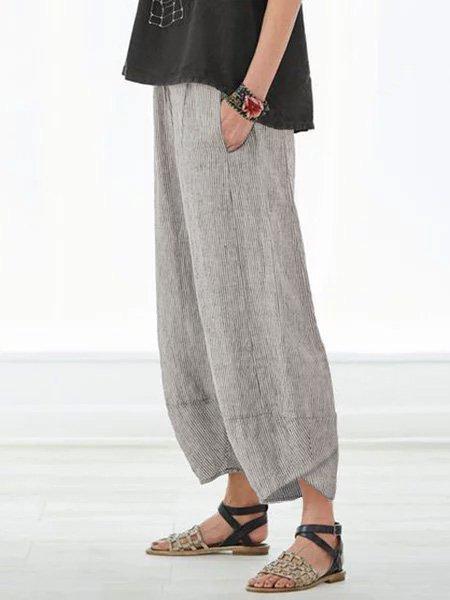 Pockets Striped Linen Shift Casual Pants