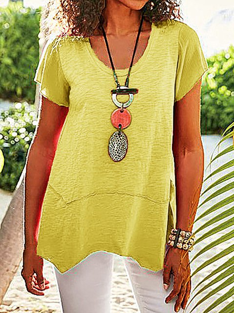Asymmetrical Hem Short Sleeve Tee Shirts